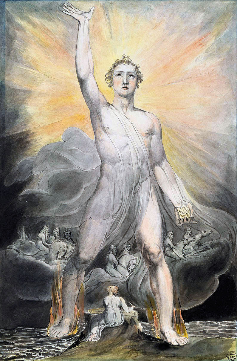 The Angel of Revelation painted by William Blake